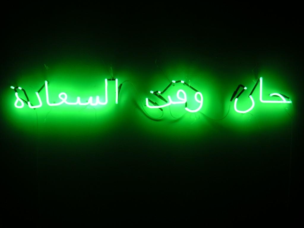 """Amina Zoubir : """"C'est le temps du bonheur"""" (Paris, néon, 2013)."""