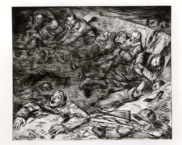 """""""Nid de blessés"""" par T.A. Steinlen (1917), Image : Musée d'histoire vivante de Montreuil."""