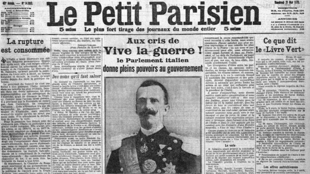 Coupure de presse, Le Petit Parisien, mai 1915 (BNF).