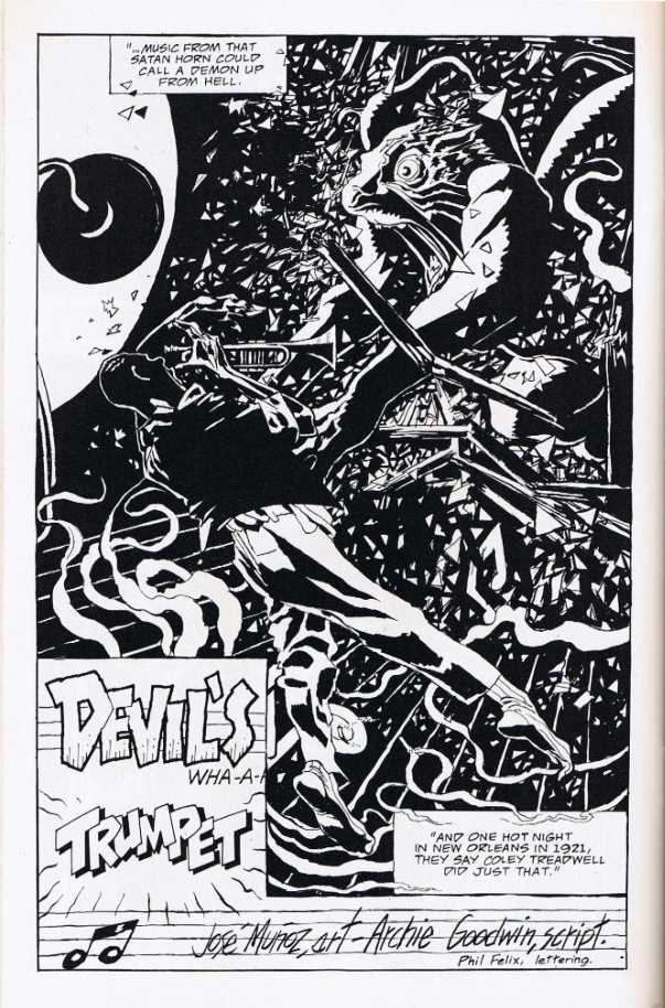 "Première page de ""La trompette du Diable"" (B:B&W, 1996)."