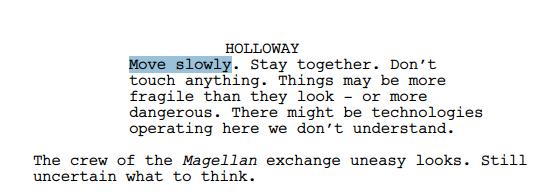 Extrait de la première version du scénario de Prometheus (source : Filmschoolrejects)