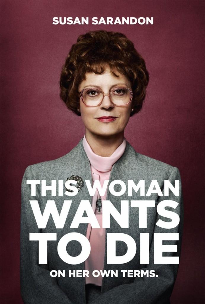 """""""Cette femme veut mourir - comme elle veut"""" - Susan Sarandon, plus jeune de film en film, sur une affiche de """"La vérité sur Jack""""."""